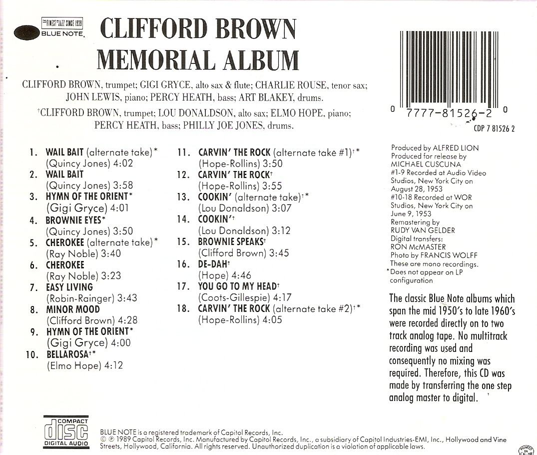 Clifford Brown Album Clifford Brown Composed of